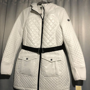 NWT Michael Kors Quilted Hooded Puffer Long Coat